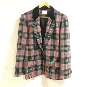 Pendleton | Gray Tartan Plaid 2 Button Wool Blazer